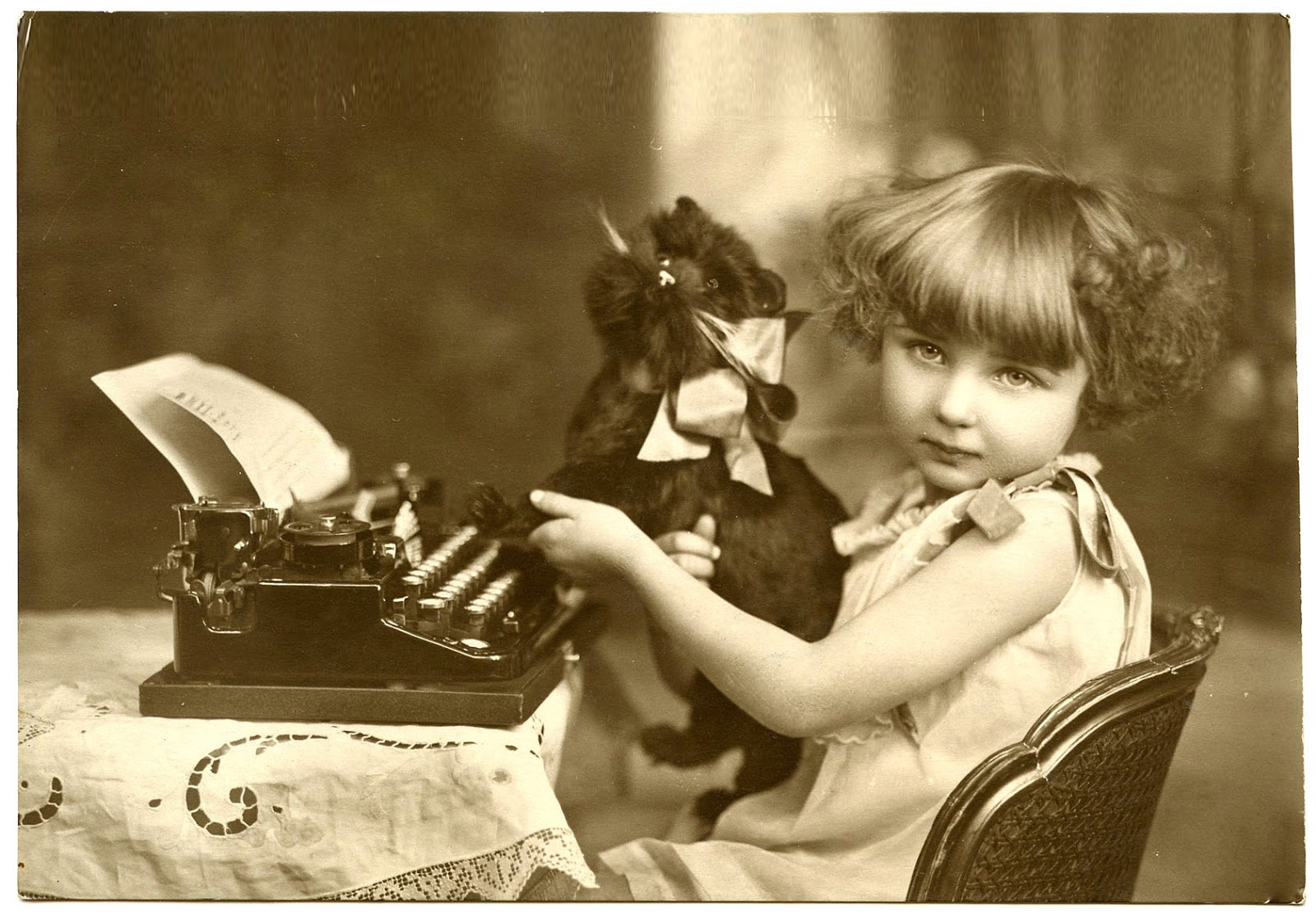 French girl at typewriter