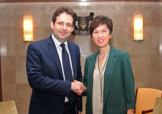 MrMatthias Fekl and Mrs Josephine Teo meeting in Singapore