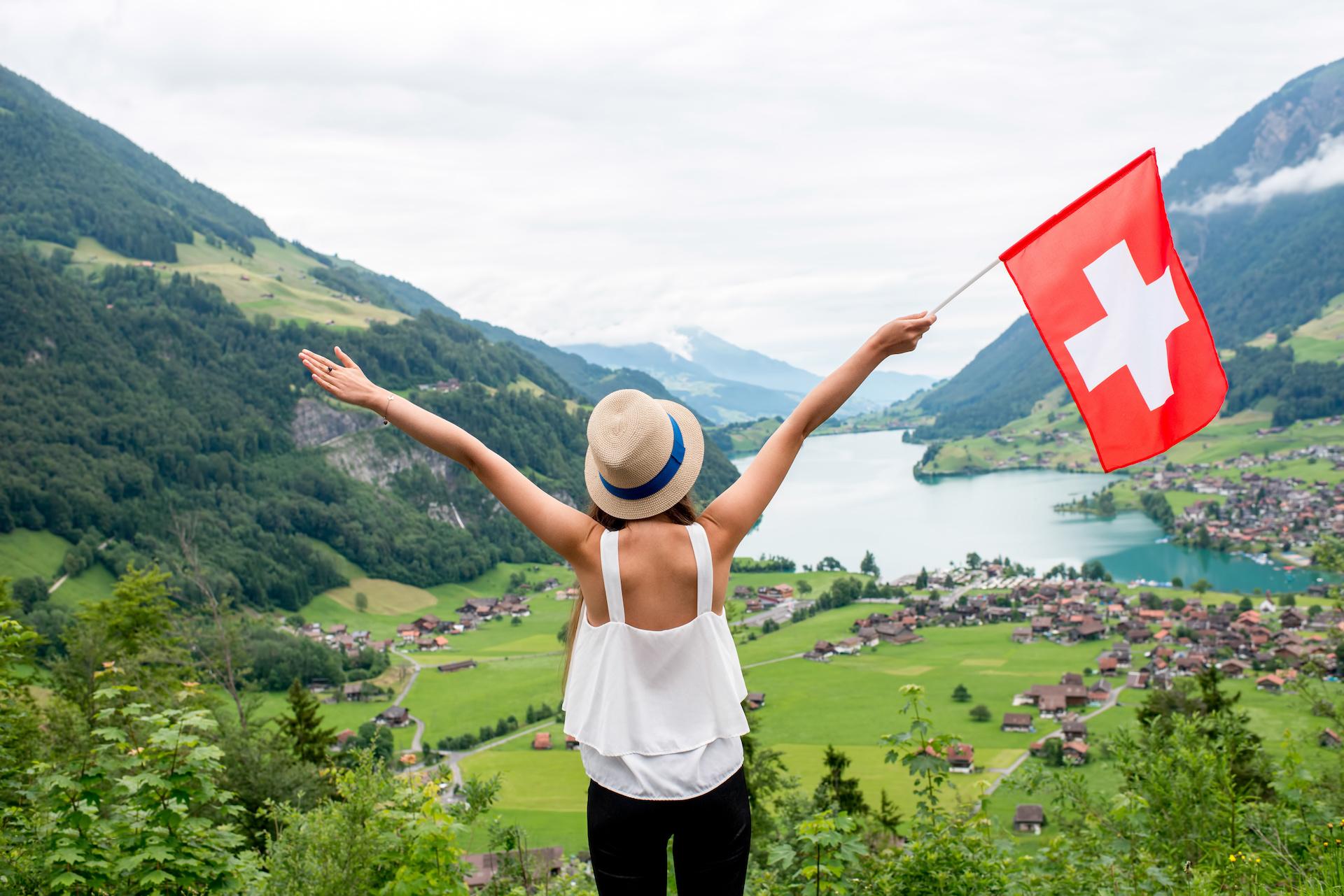 waving Swiss flag